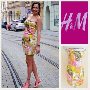 H&M Tropical Pink Palm Frond strapless dress Sz 10